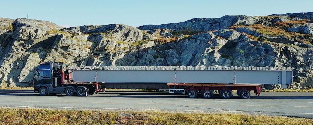 scandinavian Steel beems delivery to Sandsøya island, Norway